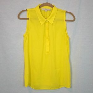 LOFT Sleeveless Yellow Collared Blouse Small